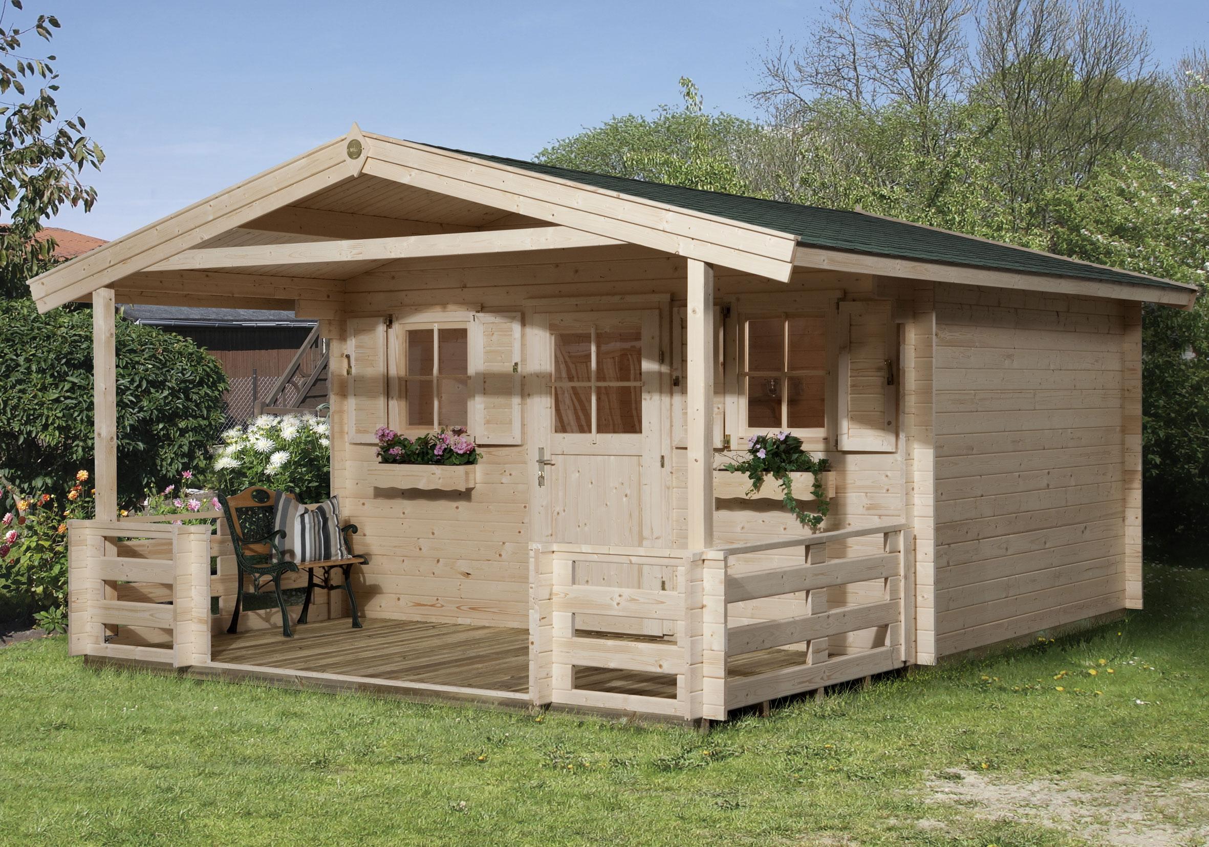 Weka Gartenhaus 28 mm 110 B Gr 1 natur 460x510cm Vordach