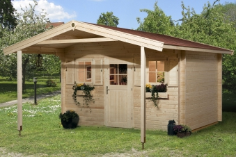 Weka Gartenhaus 28 mm 110A Gr.1 natur 460x510cm Vordach Bild 1