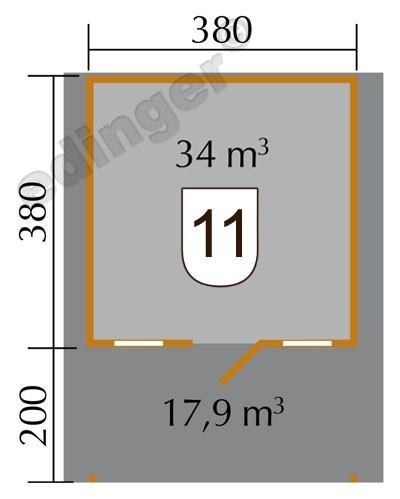 Weka Gartenhaus 28 mm 110A Gr.2 natur 460x590cm Vordach Bild 2