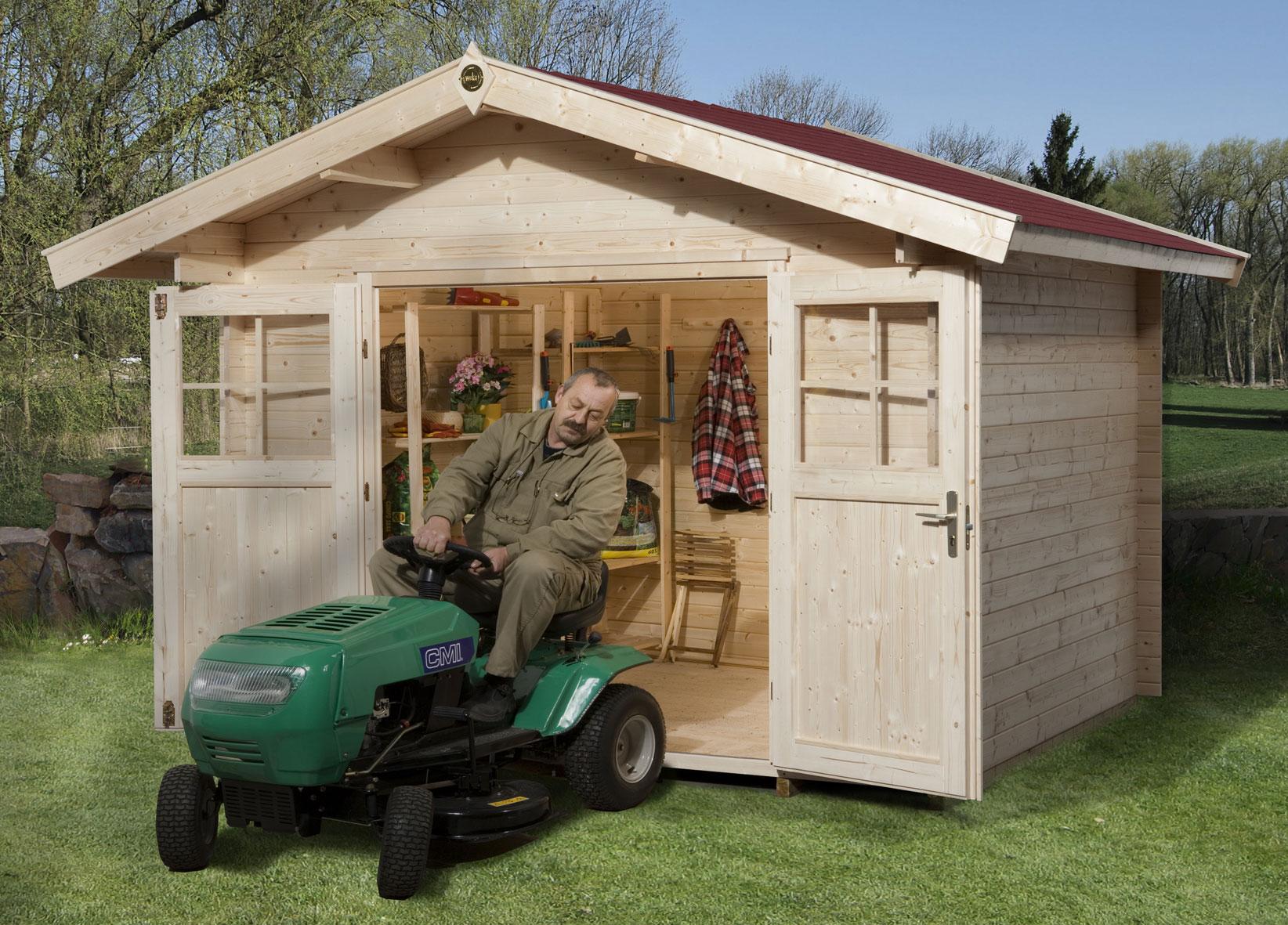 weka gartenhaus 28 mm 112a gr 2 natur 380x320cm bei. Black Bedroom Furniture Sets. Home Design Ideas