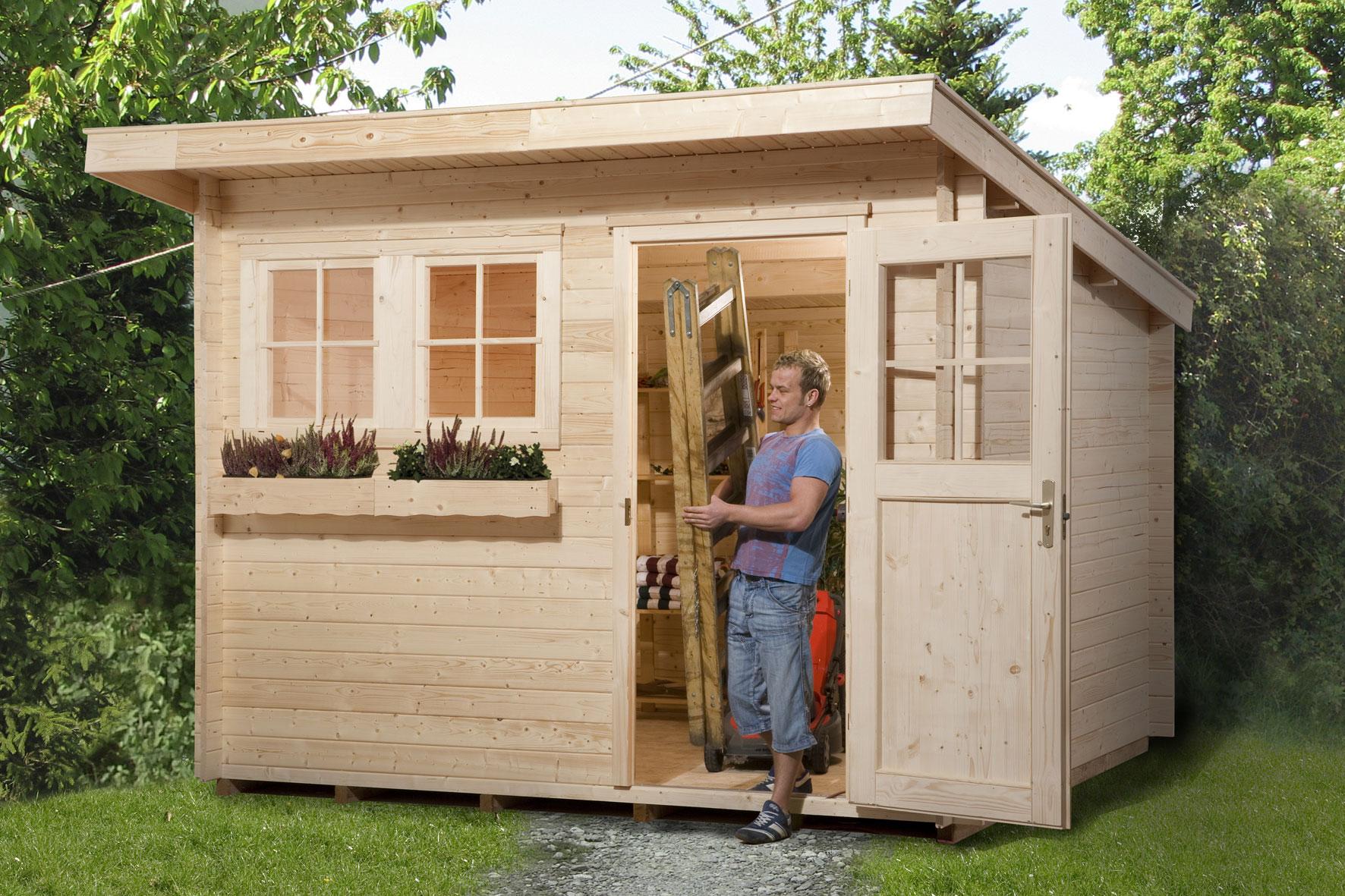 weka gartenhaus 28 mm 116 gr 2 natur 320x390cm bei. Black Bedroom Furniture Sets. Home Design Ideas