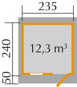 Weka Gartenhaus 28 mm 170 Gr. 2 natur 281x310cm VD 50cm Bild 2