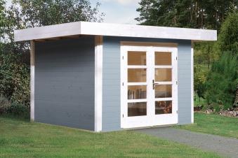 Weka Gartenhaus 28 mm Designhaus 126 Gr.1 grau 356x293cm VD 50cm Bild 1