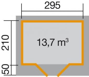 Weka Gartenhaus 28 mm Designhaus 126 Gr.1 grau 356x293cm VD 50cm Bild 2