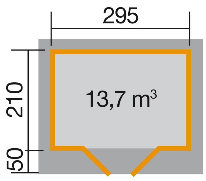 Weka Gartenhaus 28 mm Designhaus 126 Gr.1 natur 356x284cm VD 50cm Bild 2