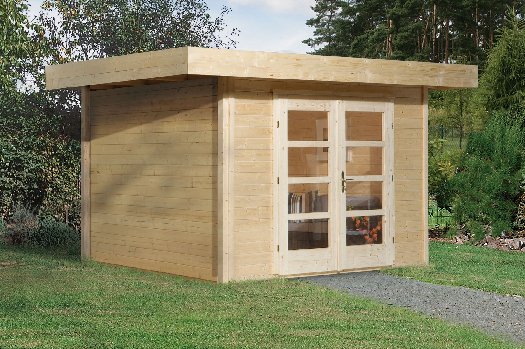weka gartenhaus 28 mm designhaus 126 gr 2 natur 356x325cm vd 50cm bei. Black Bedroom Furniture Sets. Home Design Ideas