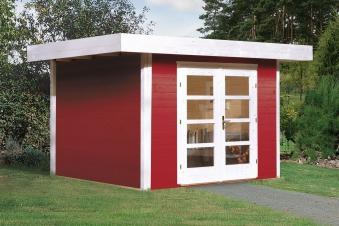 Weka Gartenhaus 28 mm Designhaus 126 Gr.2 rot 356x325cm VD 50cm Bild 1