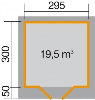 Weka Gartenhaus 28 mm Designhaus 126 Gr.3 rot 356x388cm VD 50cm Bild 2