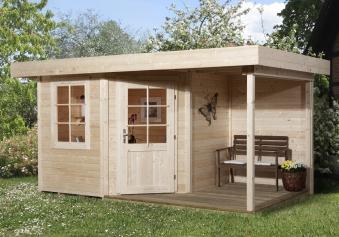 Weka Gartenhaus 28 mm Designhaus 213A Gr. 1 + Anbau natur 442x278cm Bild 1