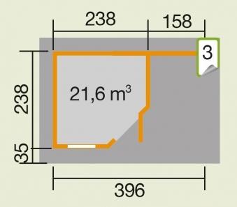 Weka Gartenhaus 28 mm Designhaus 213A Gr. 1 + Anbau natur 442x278cm Bild 3