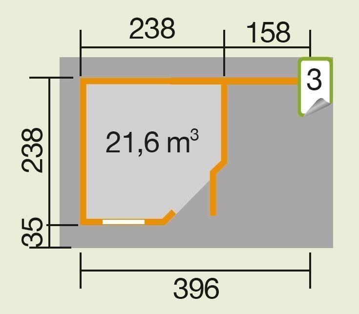 Weka Gartenhaus 28 mm Designhaus 213A Gr. 1 + Anbau rot 442x278cm Bild 3