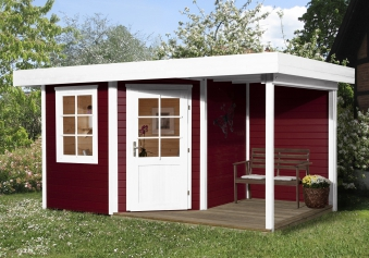 Weka Gartenhaus 28 mm Designhaus 213A Gr. 1 + Anbau rot 442x278cm Bild 1