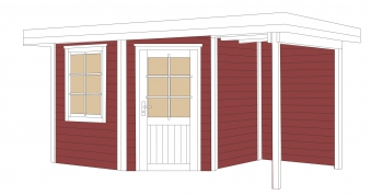 Weka Gartenhaus 28 mm Designhaus 213A Gr. 1 + Anbau rot 442x278cm Bild 2