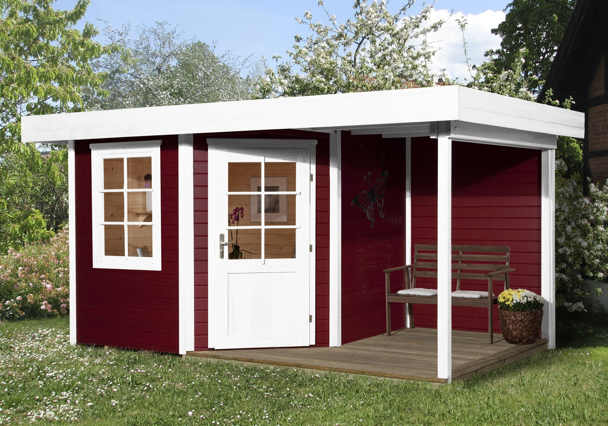 weka gartenhaus 28 mm designhaus 213a gr 1 anbau rot 442x278cm bei. Black Bedroom Furniture Sets. Home Design Ideas