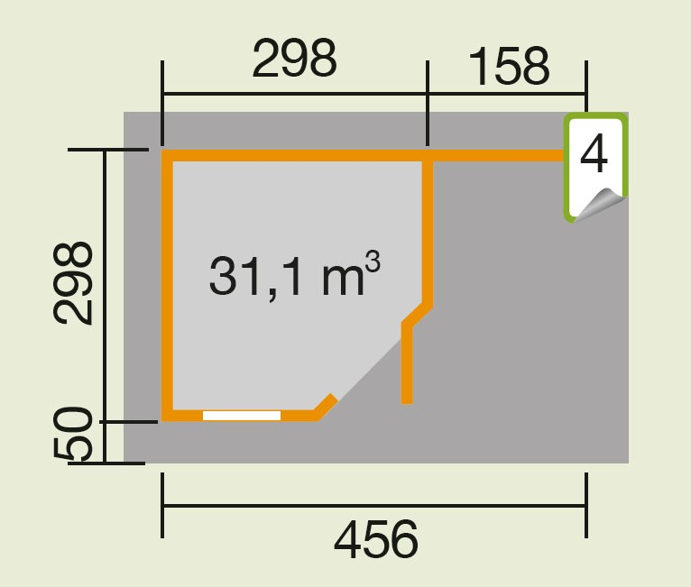 Weka Gartenhaus 28 mm Designhaus 213A Gr. 2 + Anbau grau 501x338cm Bild 2