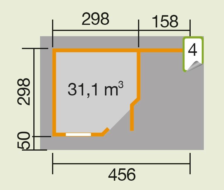 Weka Gartenhaus 28 mm Designhaus 213A Gr. 2 + Anbau rot 501x338cm Bild 2