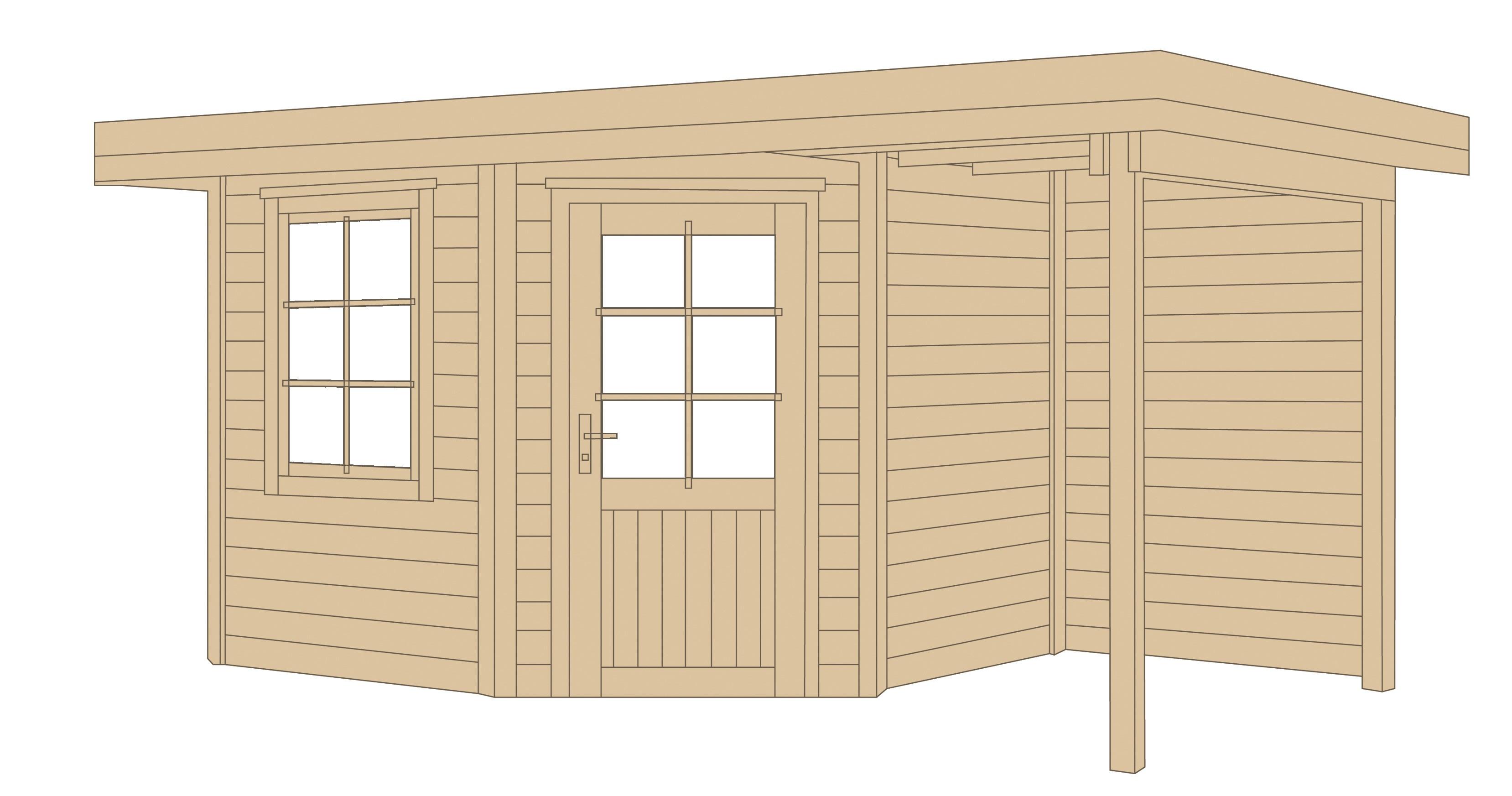 weka gartenhaus 28 mm designhaus 213a gr 2 anbau natur 501x338cm bei. Black Bedroom Furniture Sets. Home Design Ideas