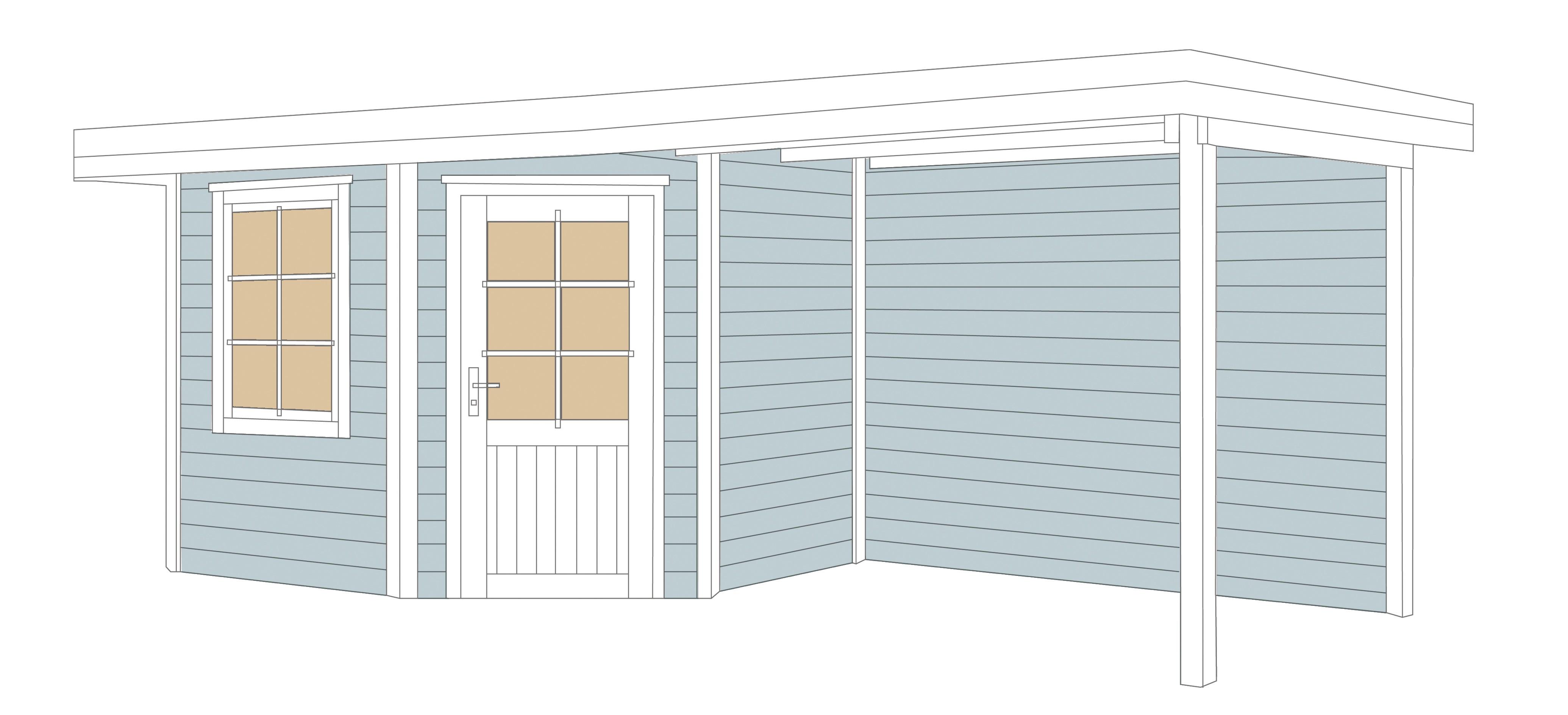 weka gartenhaus 28 mm designhaus 213b gr 1 anbau grau. Black Bedroom Furniture Sets. Home Design Ideas