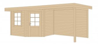 Weka Gartenhaus 28 mm Designhaus 213B Gr. 1 + Anbau natur 586x278cm Bild 2