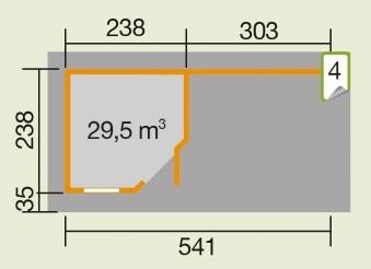 Weka Gartenhaus 28 mm Designhaus 213B Gr. 1 + Anbau natur 586x278cm Bild 3