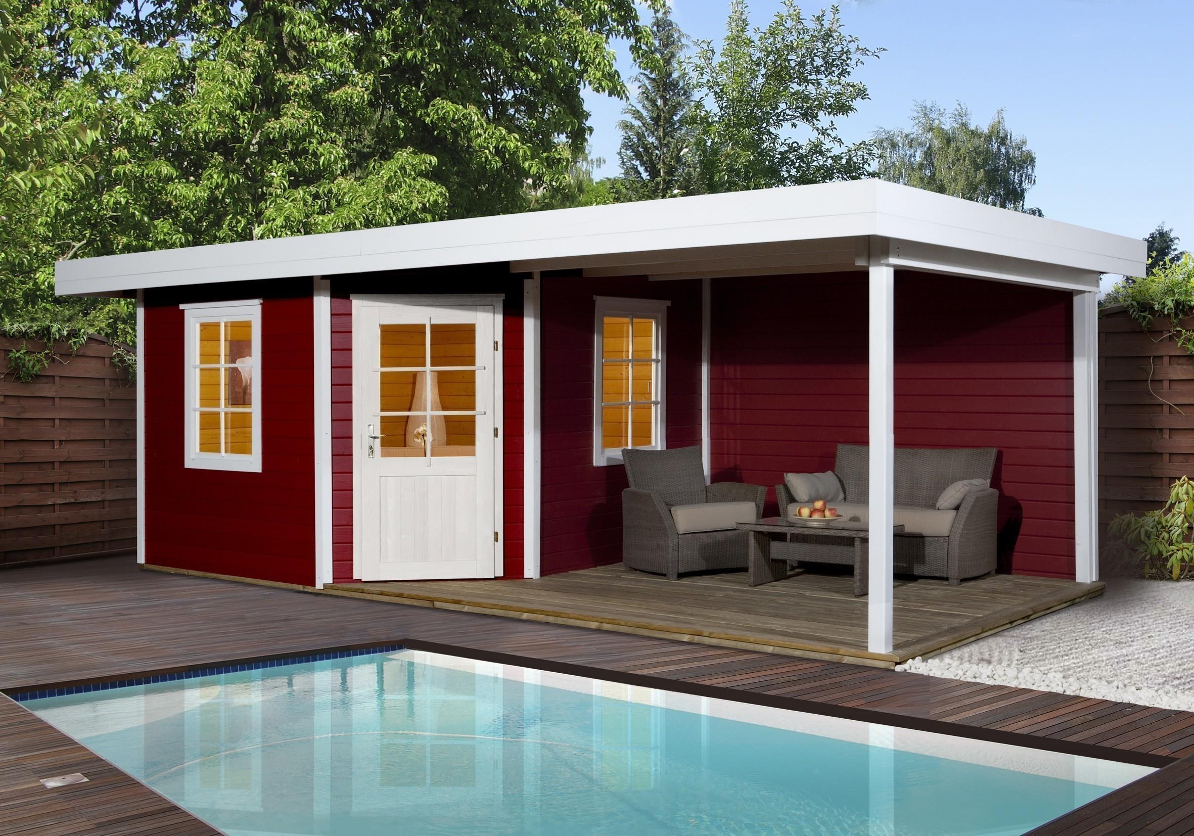 Neu Weka Gartenhaus 28 mm Designhaus 213B Gr. 2 + Anbau rot 646x338cm  ZS17