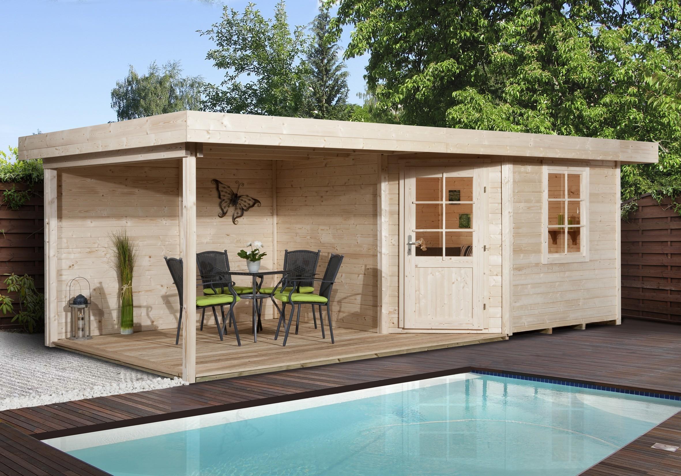 weka gartenhaus 28 mm designhaus 213b gr 2 anbau natur. Black Bedroom Furniture Sets. Home Design Ideas