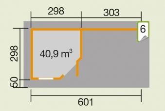 Weka Gartenhaus 28 mm Designhaus 213B Gr. 2 + Anbau rot 646x338cm Bild 2
