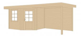 Weka Gartenhaus 28 mm Designhaus 213B Gr. 2 + Anbau rot 646x338cm Bild 3