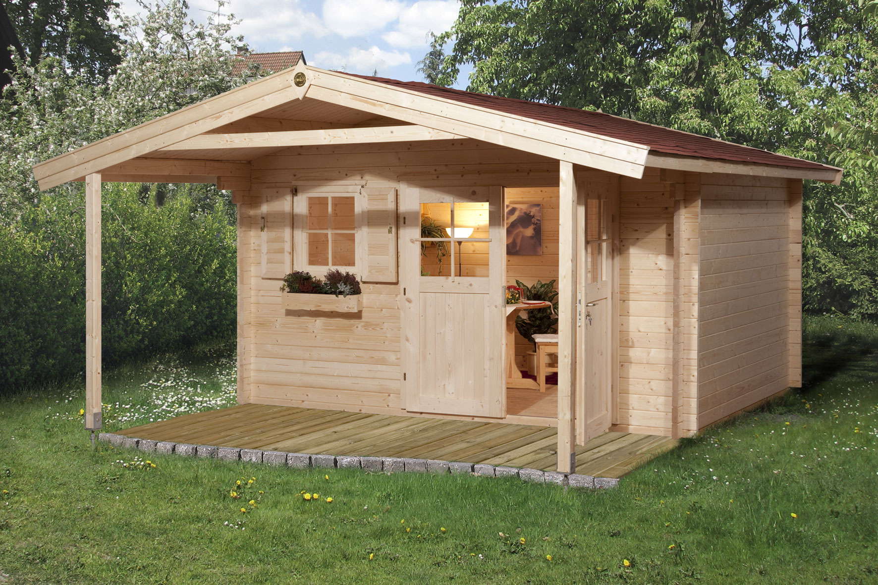 Weka Gartenhaus 28 mm Gartenhaus 111A Gr.3 natur 460x590cm Bild 1