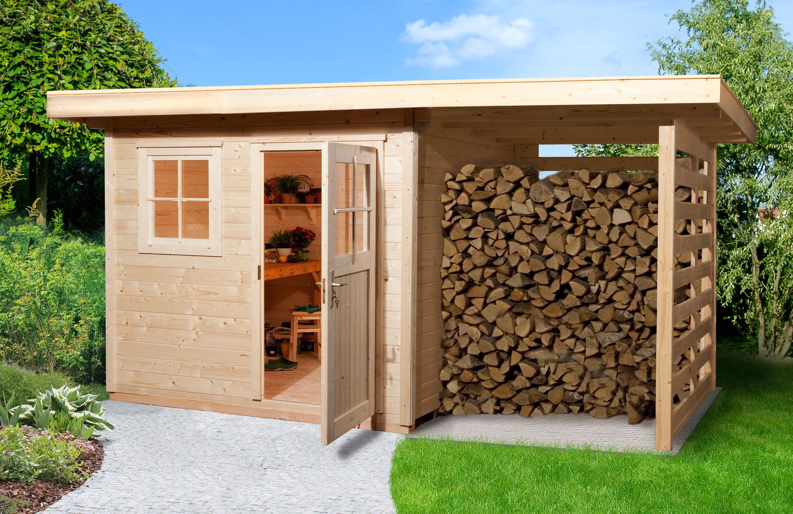 weka gartenhaus 28 mm schongau 2 1 natur 430x279cm vd 50cm bei. Black Bedroom Furniture Sets. Home Design Ideas