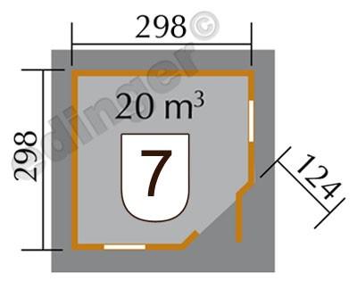 Weka Gartenhaus 28mm 149 5-Eck Gr. 2 natur 380x380cm Bild 2