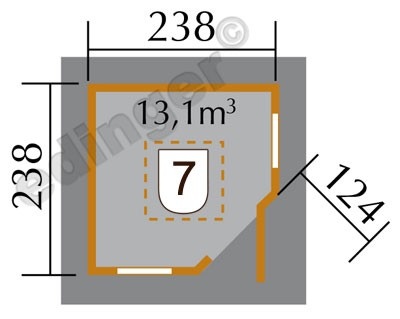 Weka Gartenhaus 28mm 149A 5-Eck Gr. 1 natur Dachaufs. 318x318cm Bild 3