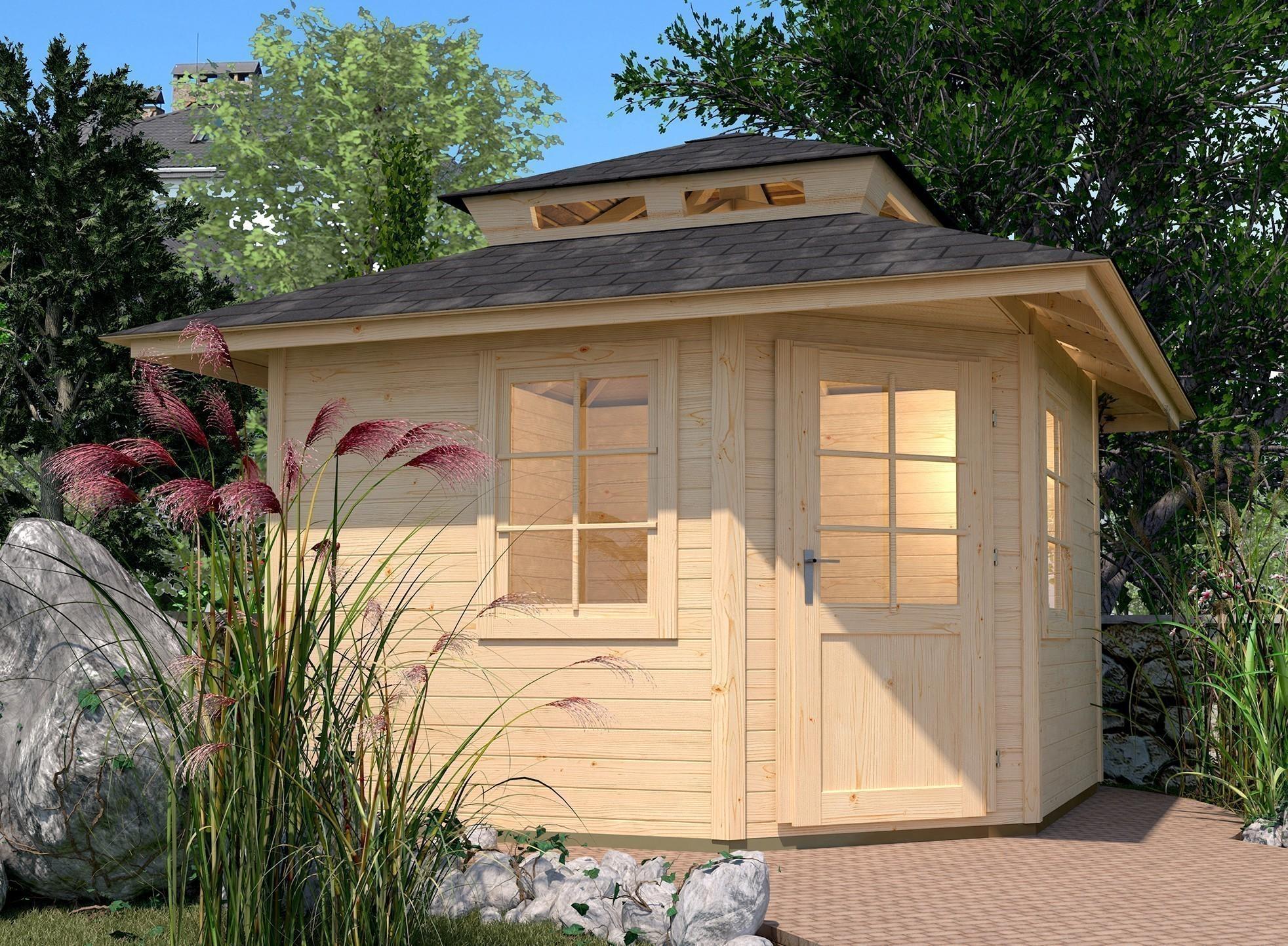 weka gartenhaus 28mm 149a 5 eck gr 2 natur dachaufs 380x380cm bei. Black Bedroom Furniture Sets. Home Design Ideas