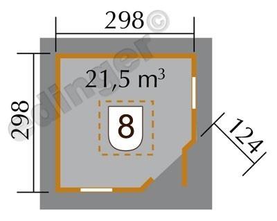 Weka Gartenhaus 28mm 149A 5-Eck Gr. 2 natur Dachaufs. 380x380cm Bild 3