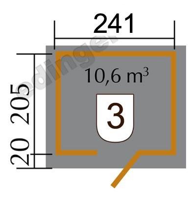 Weka Gartenhaus 28mm 260 Gr. 1 natur 297x246cm Bild 2