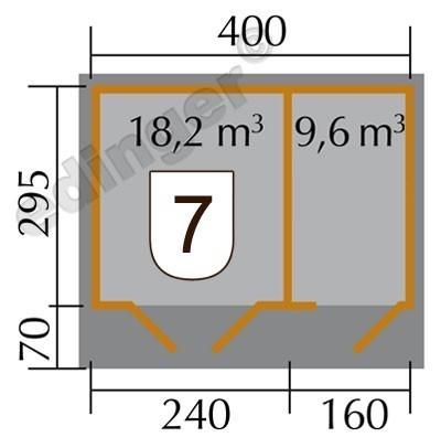 Weka Gartenhaus 28mm 261 Gr. 2 natur 460x380cm Bild 2