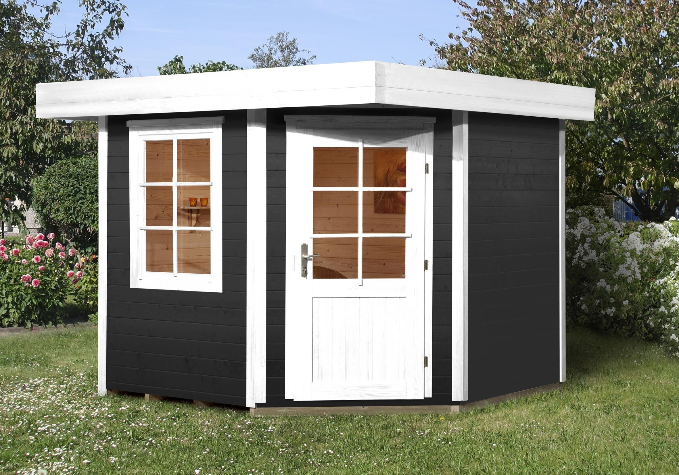 weka gartenhaus 28mm designhaus 213 gr 1 anthrazit 278x278cm vd 50cm bei. Black Bedroom Furniture Sets. Home Design Ideas