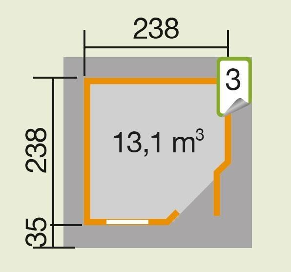 Weka Gartenhaus 28mm Designhaus 213 Gr. 1 grau 278x278cm VD 50cm Bild 2