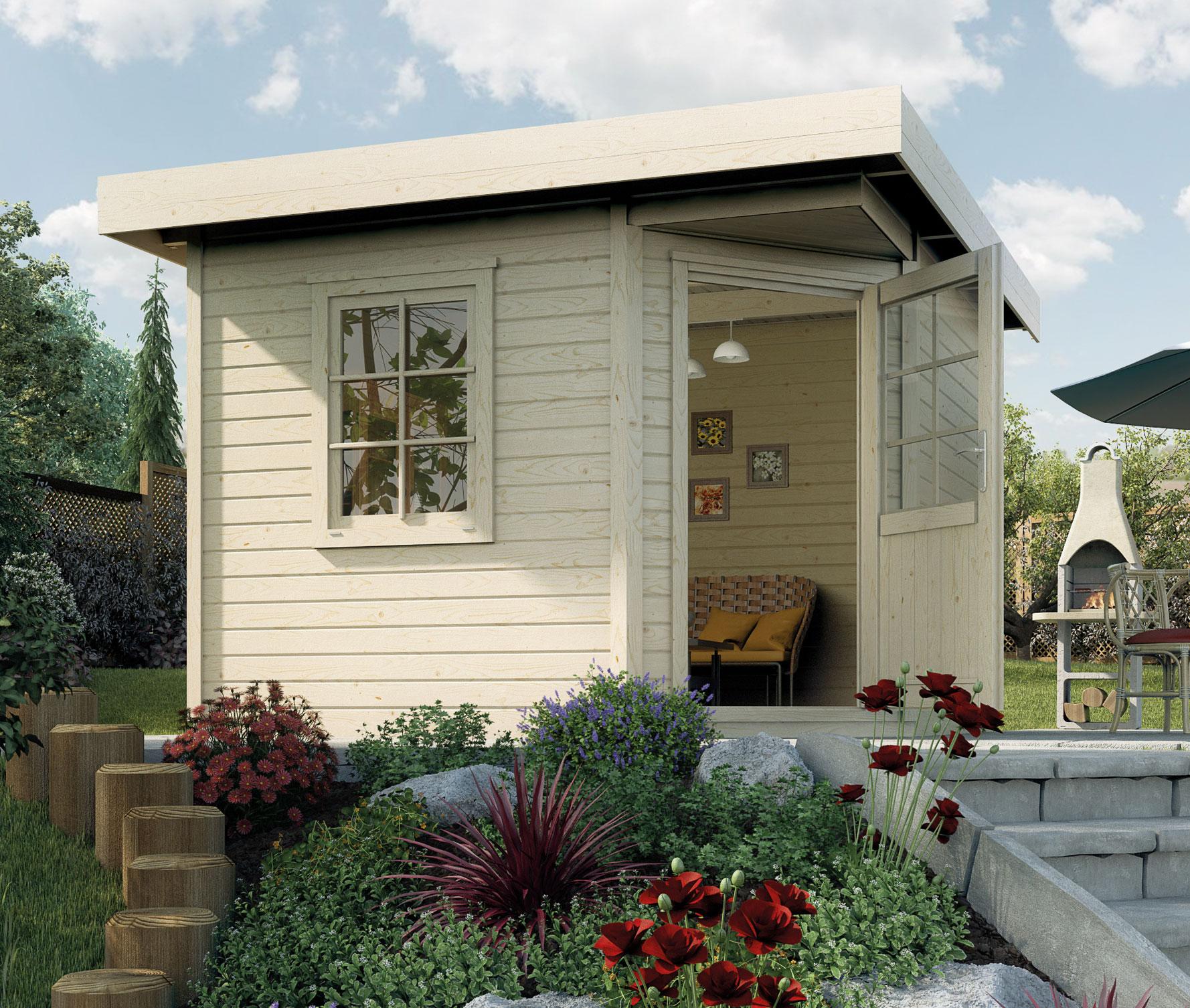 Weka Gartenhaus 28mm Designhaus 213 Gr. 1 natur 278x278cm VD 50cm Bild 1