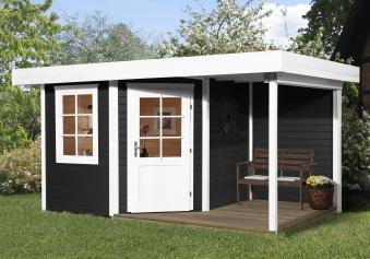 Weka Gartenhaus 28mm Designhaus 213A Gr. 1 + Anbau anthrazit 442x278cm Bild 1