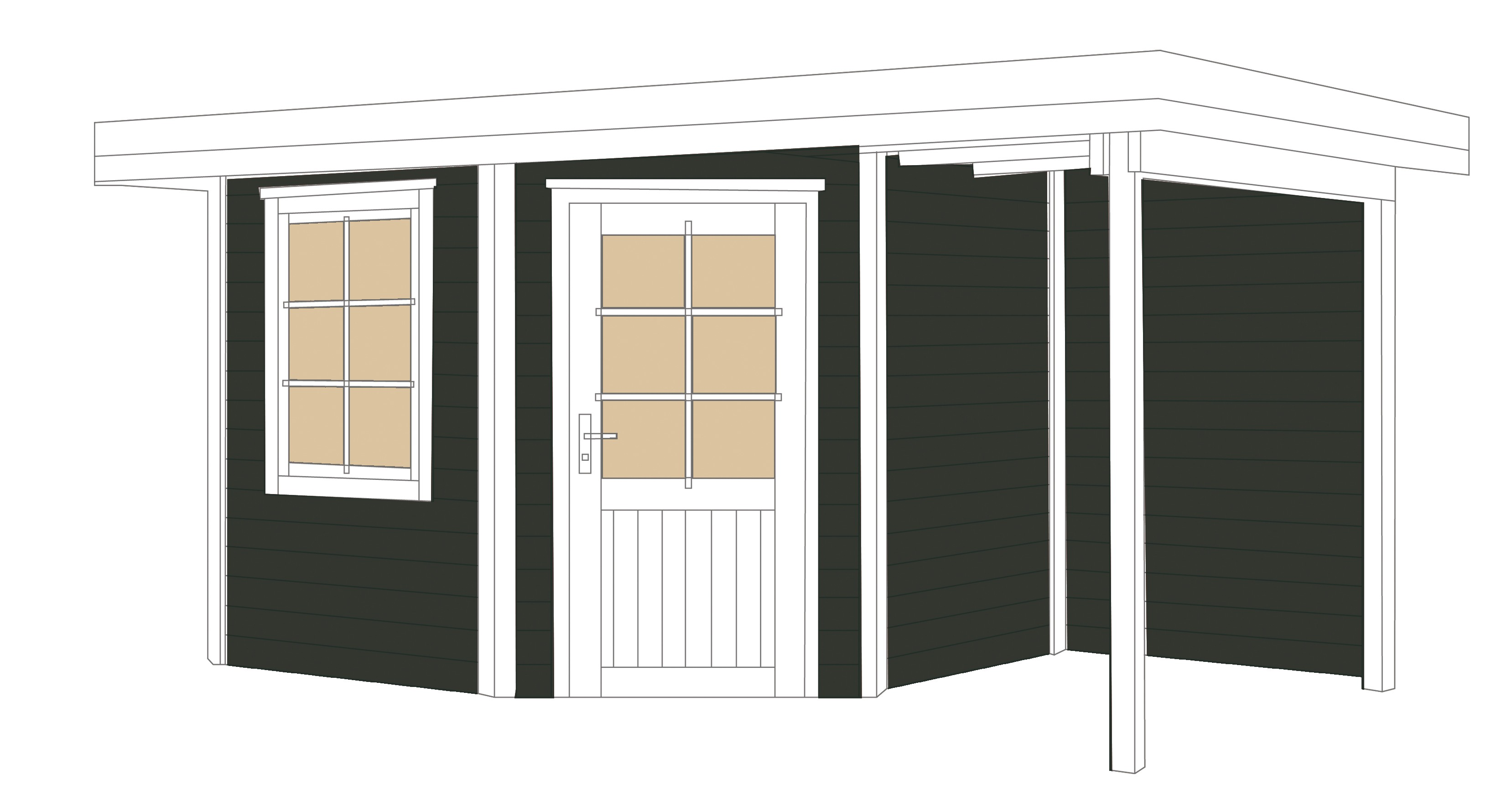 weka gartenhaus 28mm designhaus 213a gr 1 anbau anthrazit 442x278cm bei. Black Bedroom Furniture Sets. Home Design Ideas