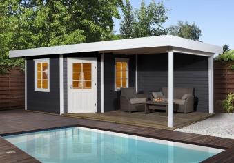 Weka Gartenhaus 28mm Designhaus 213B Gr. 2 + Anbau anthrazit 646x338cm Bild 1