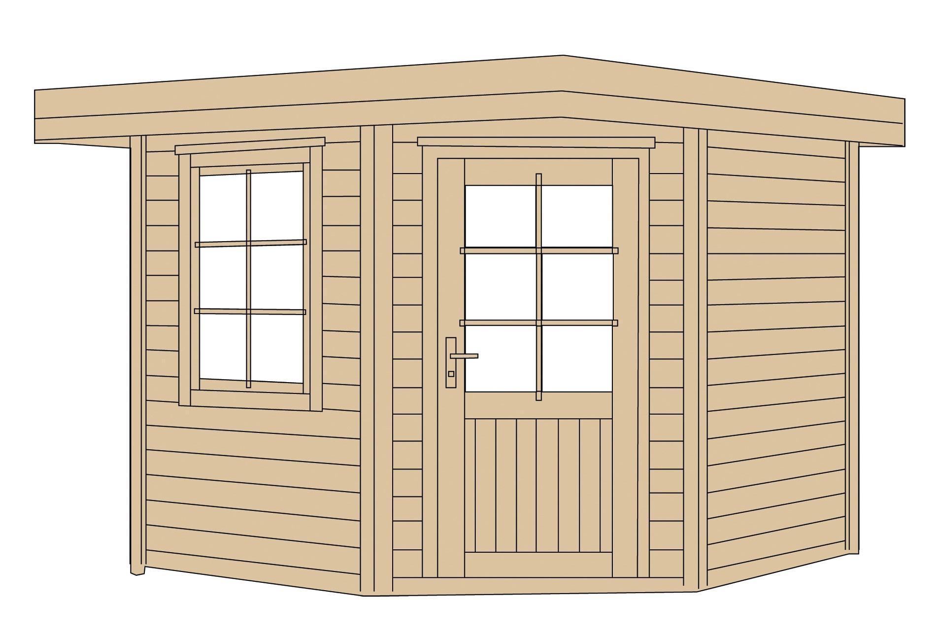 weka gartenhaus 28mm fides 1 gr 2 grau 338x338cm vd 50cm. Black Bedroom Furniture Sets. Home Design Ideas