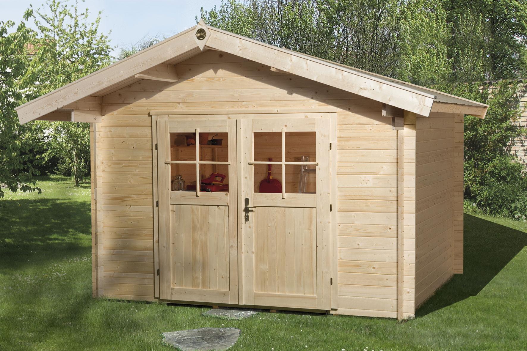 Weka Gartenhaus Premium28DT Gr. 5 natur 380x280cm Bild 1