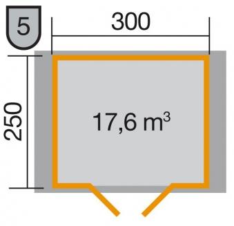 Weka Gartenhaus Premium28DT Gr. 5 natur 380x280cm Bild 2