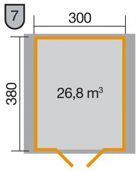 Weka Gartenhaus Premium28DT Gr. 7 natur 380x410cm Bild 2