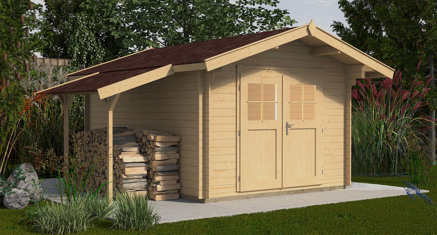 Weka Gartenhaus Premium28DT mit Schleppdach natur 509x320cm - bei ...
