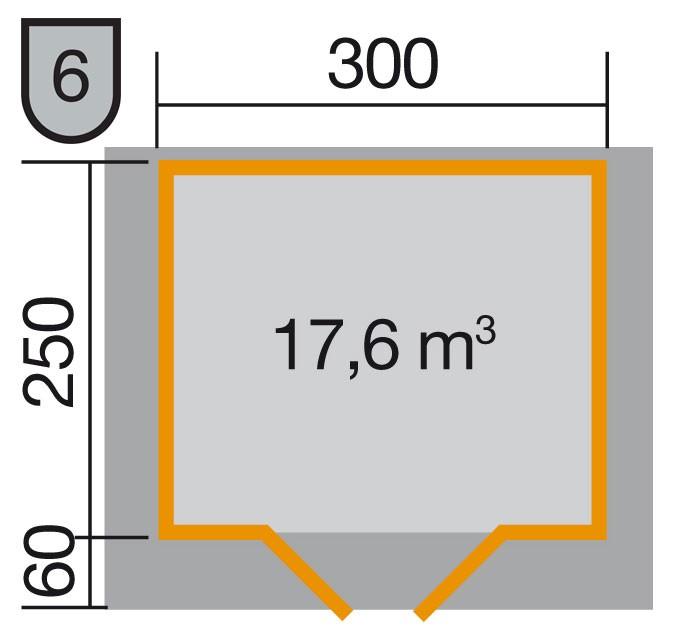 Weka Gartenhaus Premium28DT mit Vordach Gr. 3 natur 380x320cm Bild 2