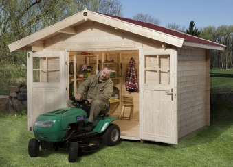 Weka Gartenhaus Premium28DT mit Vordach Gr. 3 natur 380x320cm Bild 1