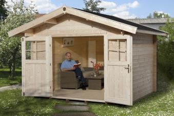 Weka Gartenhaus Premium28DT mit Vordach Gr. 4 natur 380x370cm Bild 1